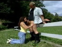 Busty german fucked outdoors by a fence movies at lingerie-mania.com