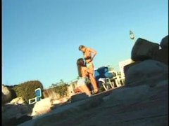 Naughty lesbians try a threesome outdoors videos