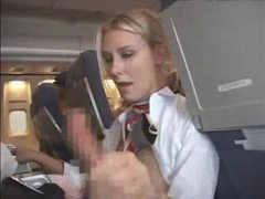 Stewardess giving customer a blowjob and handy videos