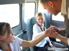 Schoolgirls on the bus share his big cock videos
