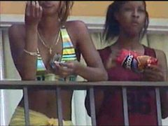 Black lesbians kissing on hotel balcony videos