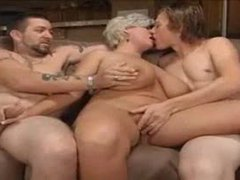 Chubby mature makes a hardcore threesome happen videos