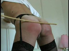 Girl in stockings caned on her ass movies at lingerie-mania.com