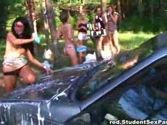 Camping trip by the lake turns into orgy movies at sgirls.net
