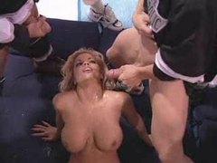 Big titty blonde girl showered in cum videos