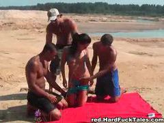 Three guys fuck a bikini girl on a blanket videos