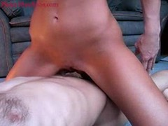 She rubs her pussy on his cock until he cums videos