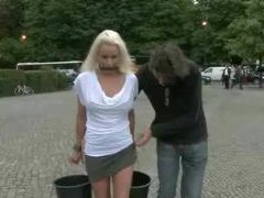 Blonde russian bitch gets humiliated in public places including a museum and gets fucked movies at kilovideos.com