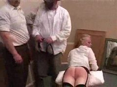 She is spanked and she is caned hard tubes