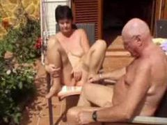 Horny old lady naked outdoors with hubby movies at kilosex.com