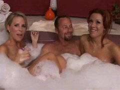 Two milfs in the hot tub with lucky guy videos