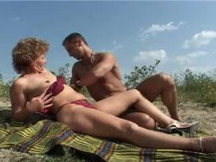 Mature outdoors rides a big dick videos