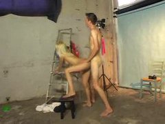 Blonde with tight body fucked in photo studio videos