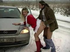 Chick in christmas outfit fucked on the side of the road movies