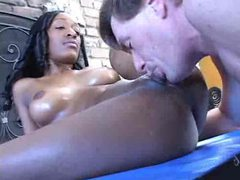 Smooth and slick black chick taking white cock movies at kilotop.com