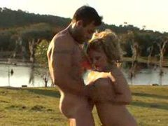 Cowboy fucks a big ass blonde in the country videos