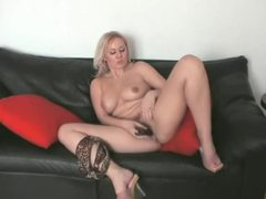 Blonde strips from lingerie to toy pussy movies at kilogirls.com