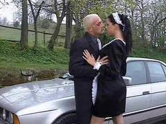French maid fucked outdoors in the ass videos
