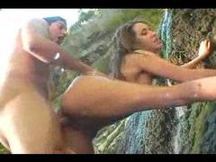 Naughty outdoor porn by the waterfall movies at adipics.com