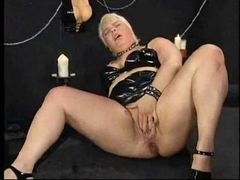 Hard dildo ramming and fisting with fatty movies