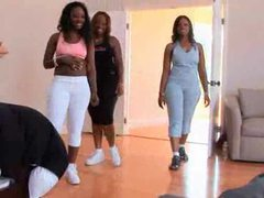 Three black booty sluts come into the gym movies at freelingerie.us
