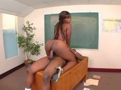 Black teacher fucks black student in class videos