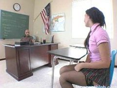 Cute schoolgirl looks great in her outfit videos