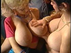Two girls with really big tits go lesbian videos
