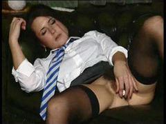 Schoolgirl puts a lollipop in her wet pussy videos