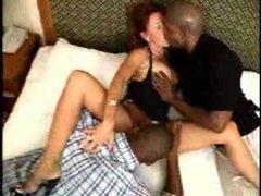 Milf hottie takes two black guys videos