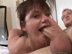 Messy blowjob with lots of gagging movies at freekilomovies.com