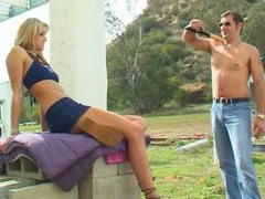He fucks the great blonde chick outdoors videos
