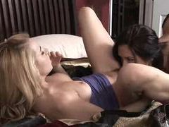 Blonde and brunette make passionate lesbian love videos
