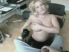 Busty blonde goes down on him videos
