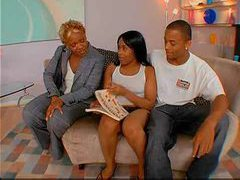 Black milf joins young couple for hot sex movies at sgirls.net