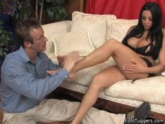 He worships her feet and gets a footjob videos