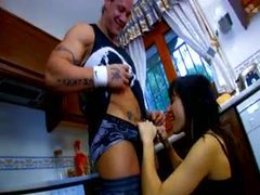 Muscular man fucks a hot wife in the kitchen videos