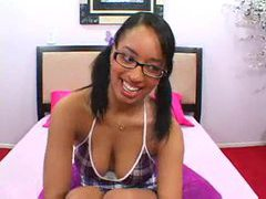 Smiles on the black teen that craves cock videos