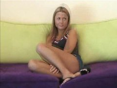 Cute blonde teen with tight tanned body videos