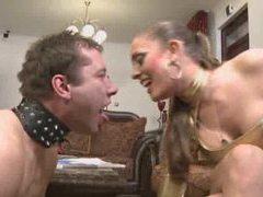 Sexy mistress treats her slave like a dog videos