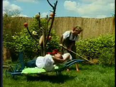 Bisexual fuck scene in the backyard garden movies at very-sexy.com