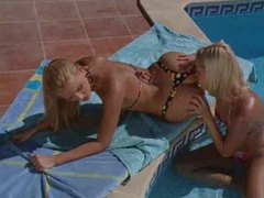 Sexy blondes have passionate poolside sex movies at sgirls.net