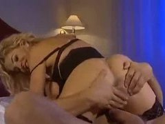 Blonde milf in black lingerie has hardcore sex clip