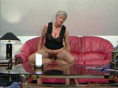 Granny in tan stockings taking cock videos