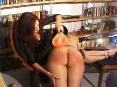 Girl gets spanked really hard and her ass turns red clip