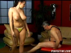 Submissive man taking abuse from a hottie movies at find-best-lingerie.com