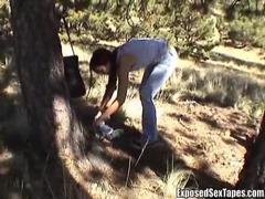 Slutty girl stroking his cock outdoors clip
