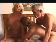 Granny and a young chick in a foursome videos