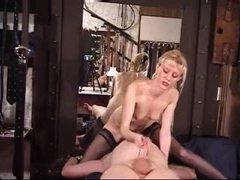 Dominant blonde sits on his face and strokes him tubes