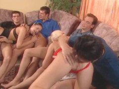 Orgy scene with fucking and hot creampie eating videos